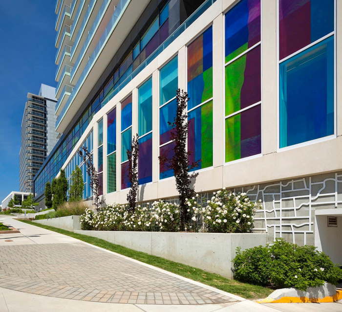 Concord Adex – Park Place Toronto Colourized Glazing Relief Sculptural Wall (Derek Root)